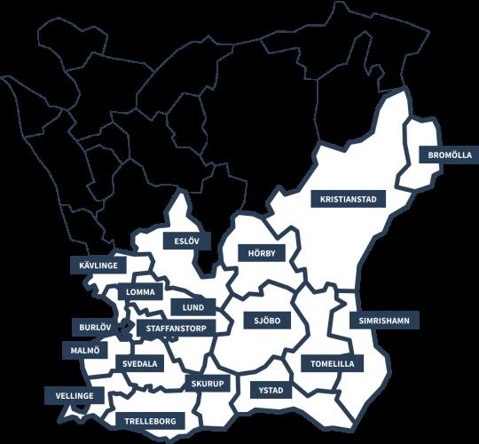 Bromölla, Kristianstad, Hörby, Eslöv, Kävlinge, Lomma, Burlöv, Staffanstorp, Lund, Sjöbo, Tomelilla, Simrishamn, Ystad, Skurup, Trelleborg, Vellinge, Svedala och Malmö